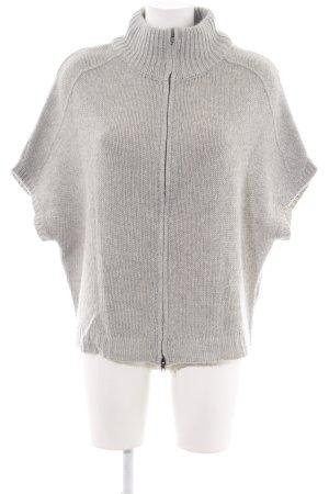 Opus Short Sleeve Knitted Jacket light grey weave pattern