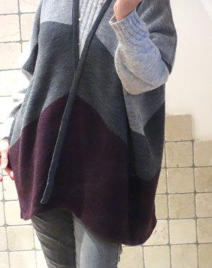 Opus Gebreide poncho bordeaux-grijs Acryl