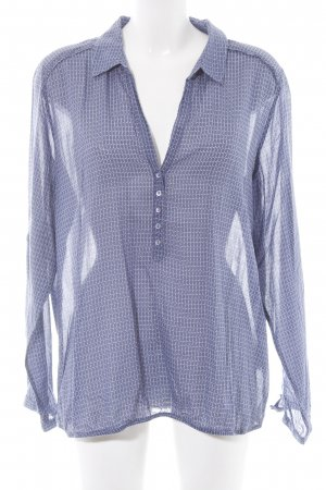 Opus Langarm-Bluse blau-weiß grafisches Muster Casual-Look