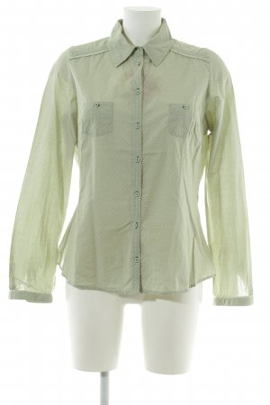 Opus Langarm-Bluse grün Punktemuster Casual-Look