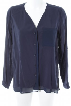 Opus Langarm-Bluse dunkelblau Business-Look