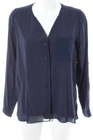 Opus Langarm-Bluse dunkelblau Business-Look