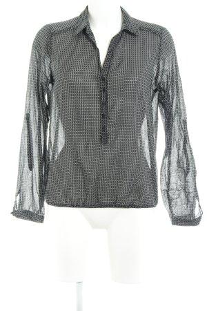 Opus Langarm-Bluse schwarz-weiß abstraktes Muster Business-Look