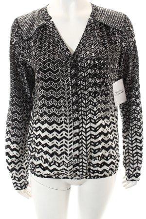 Opus Langarm-Bluse schwarz-weiß abstraktes Muster Casual-Look
