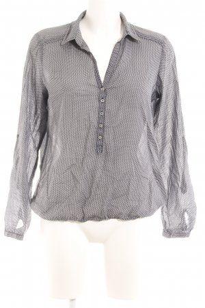 Opus Langarm-Bluse weiß-dunkelblau grafisches Muster Casual-Look