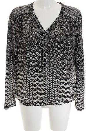 Opus Langarm-Bluse weiß-schwarz abstraktes Muster klassischer Stil