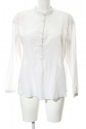 Opus Langarm-Bluse weiß-silberfarben Punktemuster Casual-Look