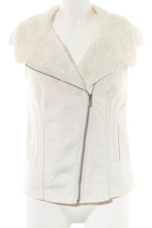 Opus Leren vest wit casual uitstraling