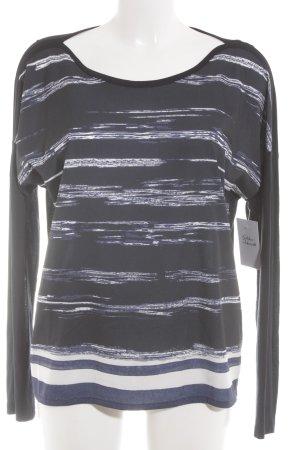 Opus Longsleeve dunkelblau-weiß Streifenmuster Casual-Look