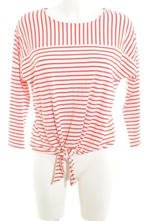 Opus Longsleeve weiß-rot Streifenmuster Casual-Look