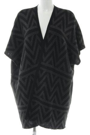 Opus Long Knitted Vest black-dark grey zigzag pattern simple style