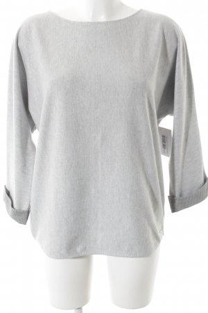 Opus Oversized Pullover grau-hellgrau Fischgrätmuster Casual-Look