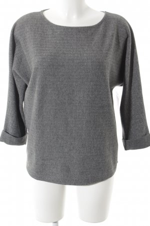 Opus Oversized Pullover schwarz-grau Fischgrätmuster Casual-Look