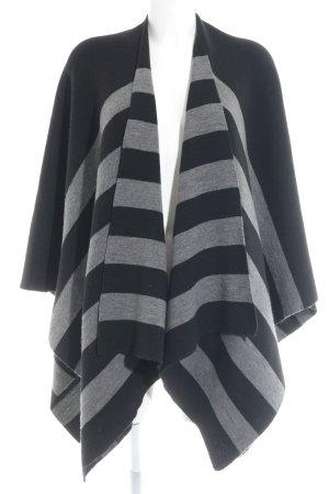 Opus Poncho nero-grigio chiaro motivo a righe stile casual