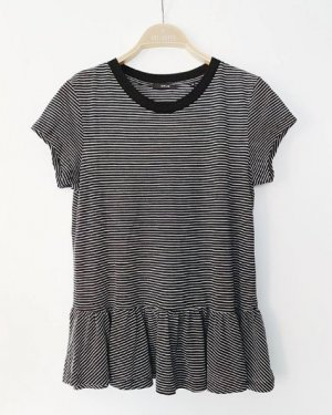 Opus T-shirt rayé noir-blanc