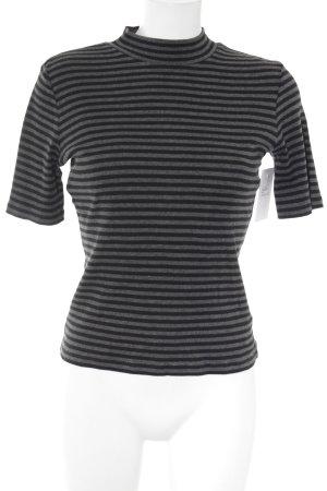 Opus Ribbed Shirt black-dark grey striped pattern casual look