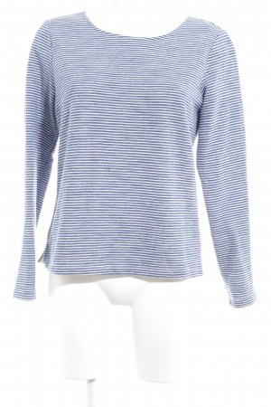 Opus Kraagloze sweater donkerblauw-wit horizontale strepen casual uitstraling