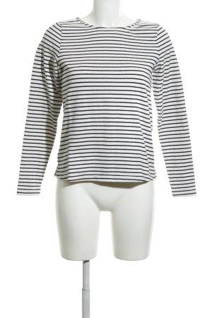 Opus Rundhalspullover weiß-schwarz Streifenmuster Casual-Look