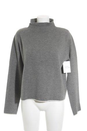 Opus Rundhalspullover grau-weiß Casual-Look