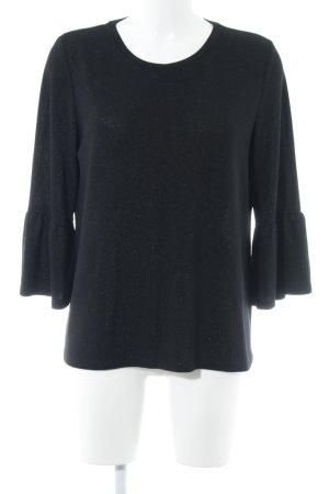 Opus Rundhalspullover schwarz-silberfarben meliert Elegant
