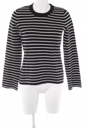 Opus Crewneck Sweater black-white striped pattern casual look