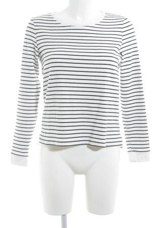 Opus Rundhalspullover schwarz-weiß Streifenmuster Casual-Look
