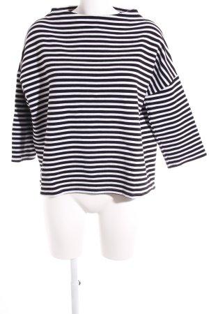 Opus Crewneck Sweater black-white striped pattern simple style
