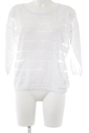 Opus Rundhalspullover weiß Streifenmuster Casual-Look