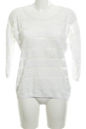 Opus Maglione girocollo bianco motivo a righe look trasparente