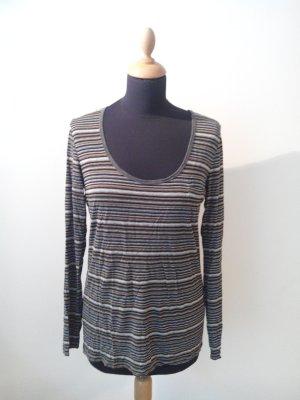 opus Scandi Retro Streifen gestreift stripes senf grau schwarz deep rundhals brusttasche fein Longsleeve Shirt Top. Viskose