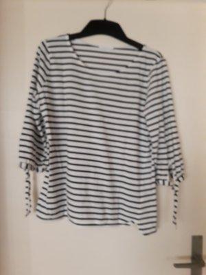 Opus Gestreept shirt wit-zwart Gemengd weefsel