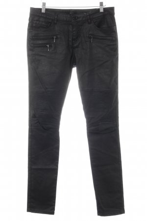 Opus Skinny Jeans schwarz Biker-Look