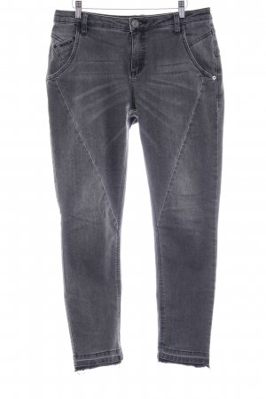 Opus Slim Jeans schwarz-grau Used-Optik
