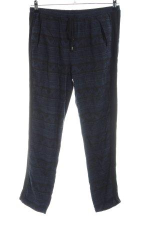 Opus Stoffhose schwarz-blau abstraktes Muster Casual-Look