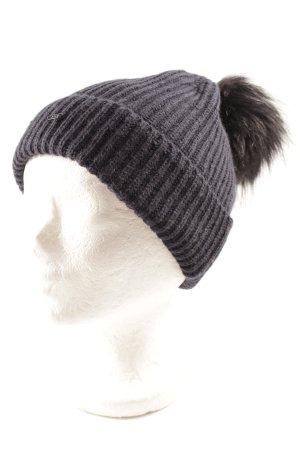 Opus Chapeau en tricot bleu foncé-noir style simple