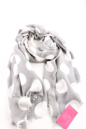 Opus Knitted Scarf light grey-white spot pattern casual look