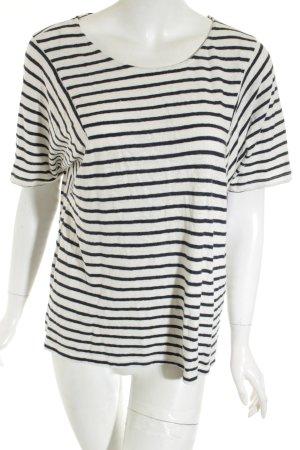Opus Strickshirt weiß-dunkelblau Streifenmuster Casual-Look