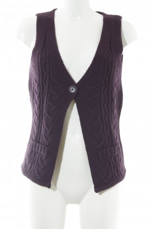Opus Knitted Vest dark violet cable stitch casual look