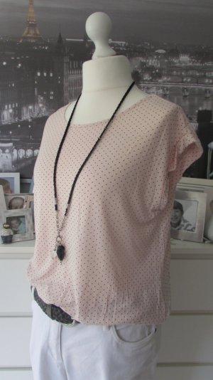 Opus * Süßes Viskose-Shirt * apricot-rosa schwarz Pünktchen * 44 NEU