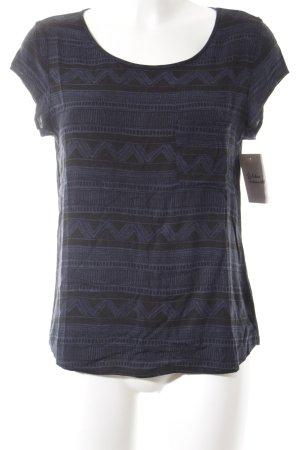 Opus T-Shirt dunkelblau-schwarz abstraktes Muster Casual-Look