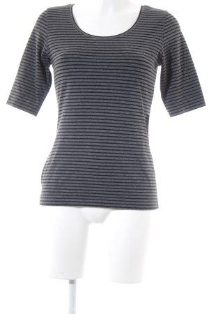 Opus T-Shirt schwarz-grau Streifenmuster klassischer Stil