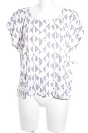 Opus T-Shirt wollweiß-silberfarben abstraktes Muster Casual-Look