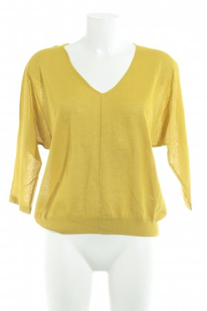 Opus Maglione con scollo a V giallo lime stile casual