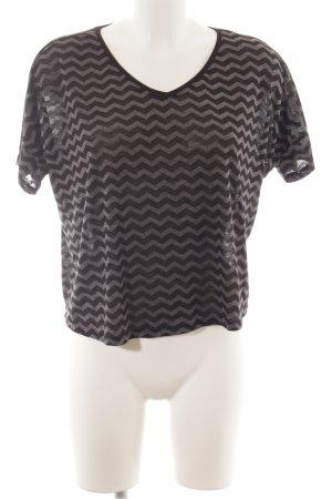Opus V-Ausschnitt-Shirt schwarz-grau Aztekenmuster Casual-Look