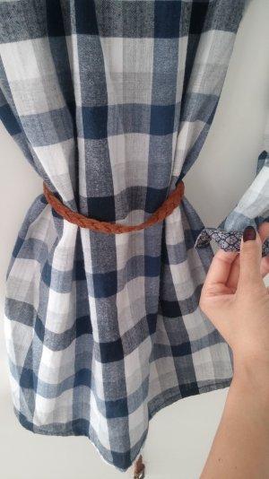 Opus Vintage Tunika Kleid Ledergürtel Größe 36 blau weiß kariert S
