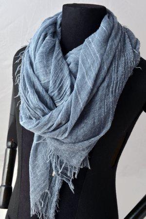 OPUS XL Tuch Schal usedlook verwaschenes Blau Fransen unisex
