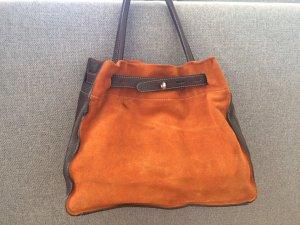 Orange-braune Handtasche aus echtem Wild- und Glattleder