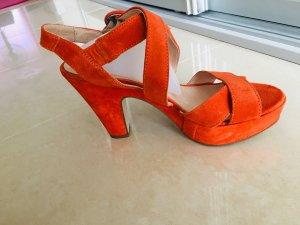 Sandales à plateforme orange fluo-orange foncé