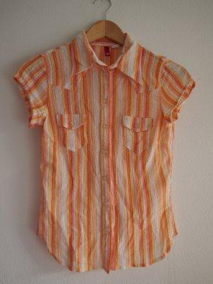 Orange gestreifte Bluse mit goldenen Highlights