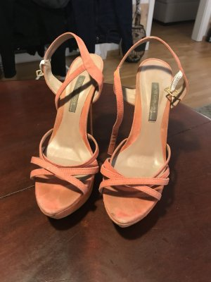 Strapped High-Heeled Sandals orange leather